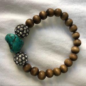 Stella & Dot Bracelet Turquoise, Pave & Wood Beads